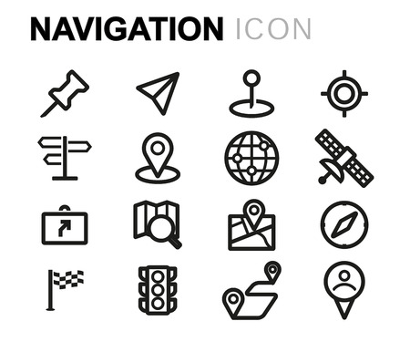 navigation icons: black line navigation icons set on white background Illustration