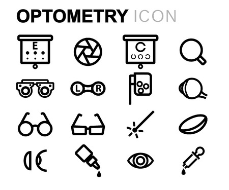 optometry: black line optometry icons set on white background