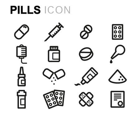 black line pills icons set on white background Ilustracje wektorowe
