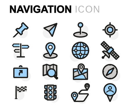 navigation icons: flat line navigation icons set on white background