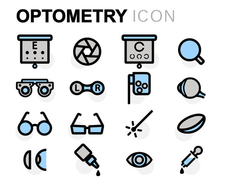 eye exams: flat line optometry icons set on white background