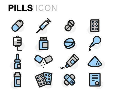aspirin: flat line pills icons set on white background Illustration