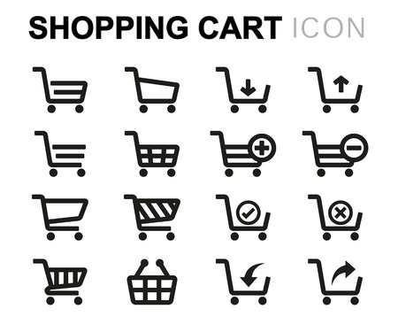 schwarze Linie Warenkorb Icons Set auf weißem Hintergrund