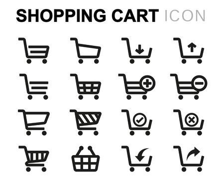 Zwarte lijn winkelwagentje pictogrammen op een witte achtergrond