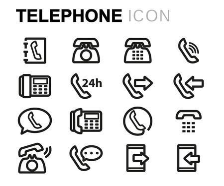telephone icons: black line telephone icons set on white background Illustration