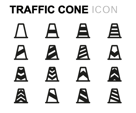 sign road: black line traffic cone icons set on white background
