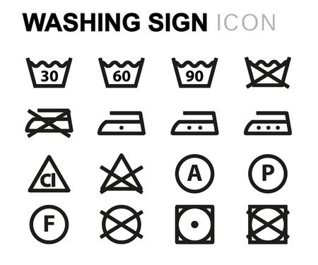 lijn wassen borden lijn usb pictogrammen instellen op een witte achtergrond Vector Illustratie