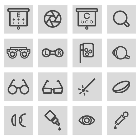 medical exam: Vector black line optometry icons set on grey background Illustration