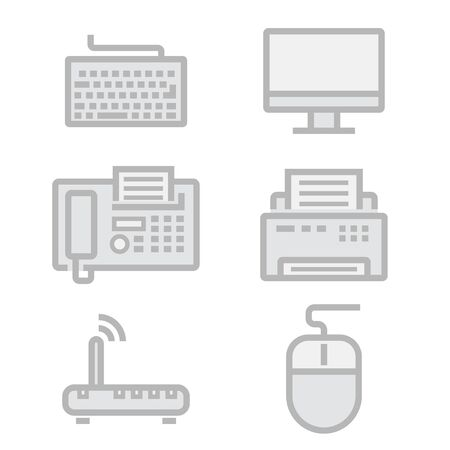 electronic tablet: Vector black line office devices icons set on white background Illustration