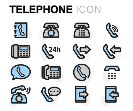 telephone icons: Vector flat line telephone icons set on white background