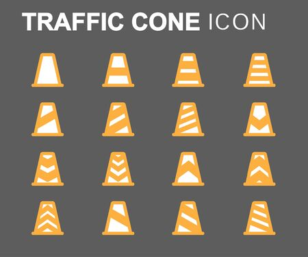 grey line: Vector flat line traffic cone icons set on grey background Illustration