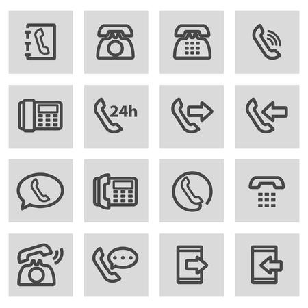 telephone icons: Vector black line telephone icons set on grey background