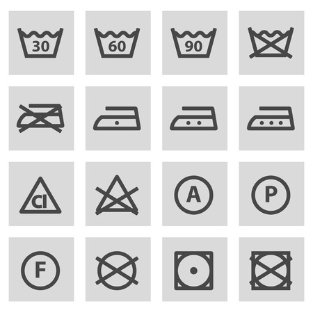 laundry care symbol: Vector black line washing signs set on grey background