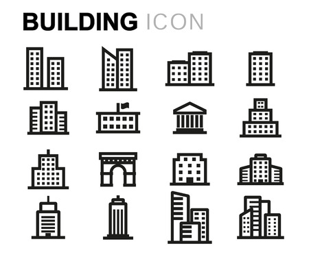 modern apartment: Vector line buildings icons set on white background