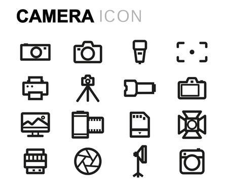 multimedia background: Vector line camera icons set on white background