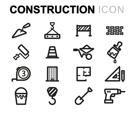 industrial vehicle: Vector line construction icons set on white background Illustration