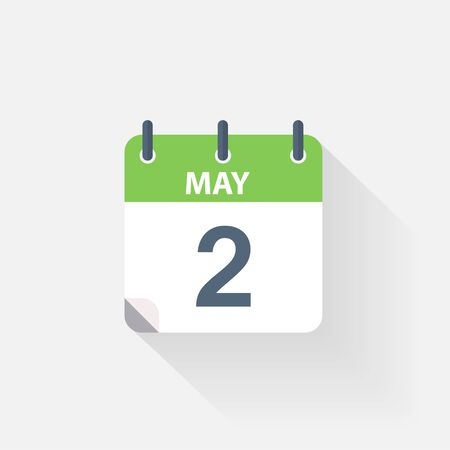 2 months: 2 may calendar icon on grey background