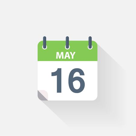 16: 16 may calendar icon on grey background Illustration