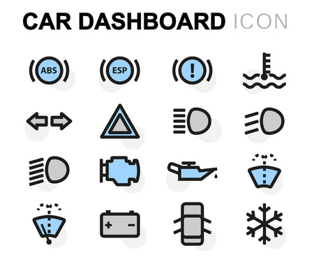 air gauge: Vector flat car dashboard icons set on white background Illustration