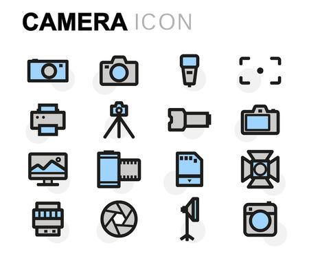 multimedia background: Vector flat camera icons set on white background