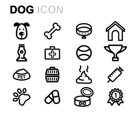 dog walking: Vector line dog icons set on white background