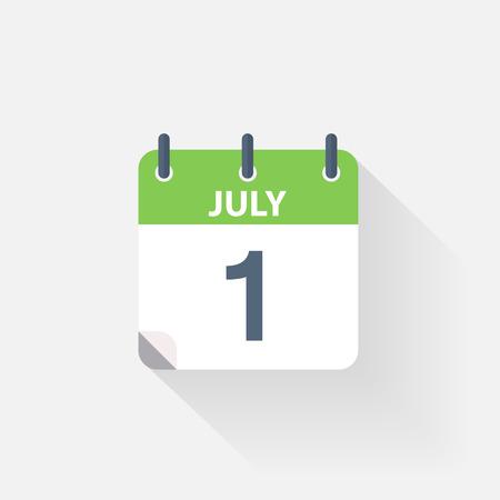 calendario julio: 1 icono de calendario de julio, sobre fondo gris