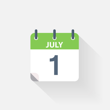 july calendar: 1 july calendar icon on grey background Illustration