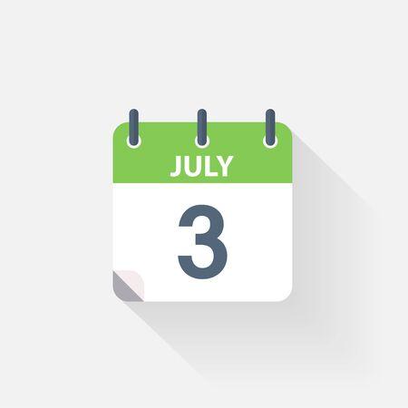 calendario julio: 3 icono de calendario de julio, sobre fondo gris Vectores