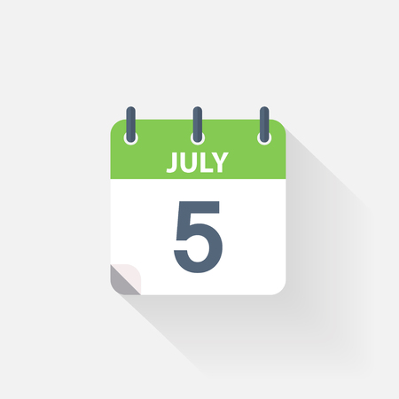 calendario julio: 5 icono de calendario de julio, sobre fondo gris