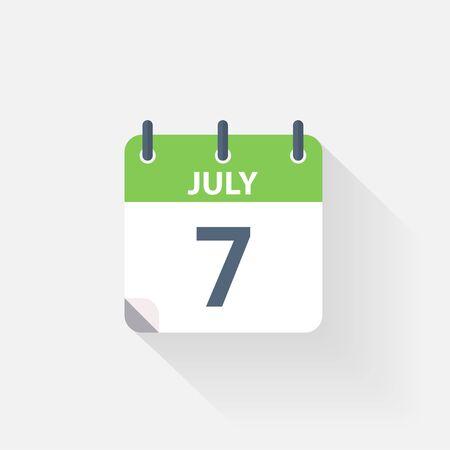 calendario julio: 7 icono de calendario de julio, sobre fondo gris Vectores