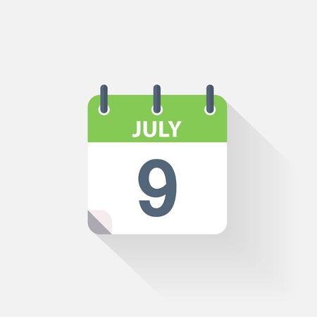 calendario julio: 9 icono de calendario de julio, sobre fondo gris