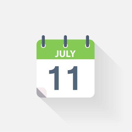 july calendar: 11 july calendar icon on grey background