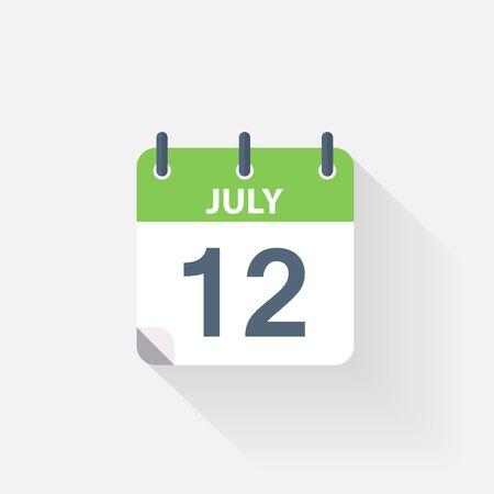 july calendar: 12 july calendar icon on grey background