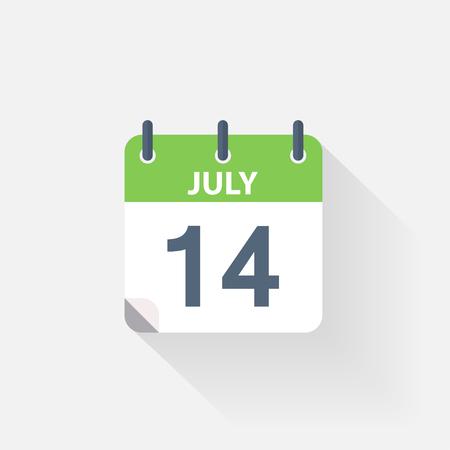 calendario julio: 14 icono de calendario de julio sobre fondo gris Vectores