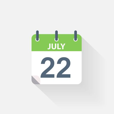 july calendar: 22 july calendar icon on grey background