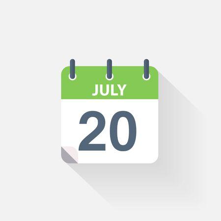calendario julio: 20 icono de calendario de julio sobre fondo gris