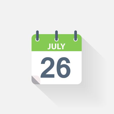 july calendar: 26 july calendar icon on grey background Illustration