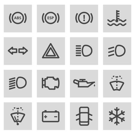 air gauge: Vector line car dashboard icons set on grey background Illustration