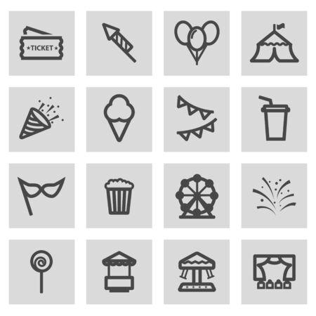 Vector line carnival icons set on grey background Illustration
