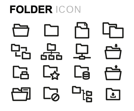 black pictogram: Vector line folder icons set on white background