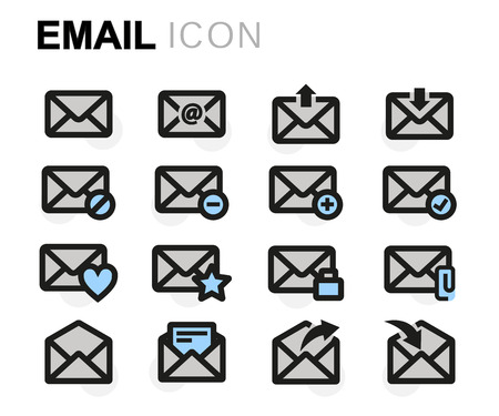 email icons: Vector flat email icons set on white background