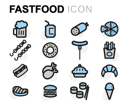 fastfood: Vector biểu tượng fastfood phẳng đặt trên nền trắng