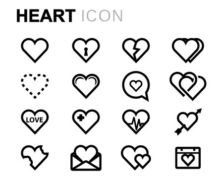 Vector icone del cuore linea impostato su sfondo bianco