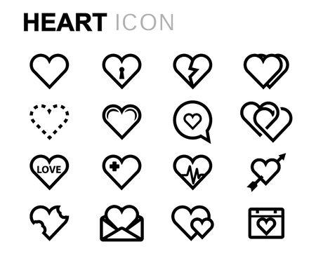 Iconos de vector línea corazón en fondo blanco