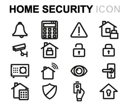 safe lock: Vector line home security icons set on white background Illustration