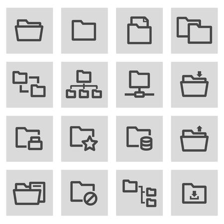 folder icon: Vector line folder set on grey background Illustration