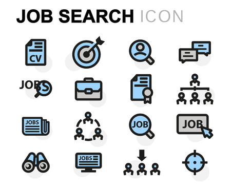 strategy meeting: Vector flat job search icons set on white background Illustration