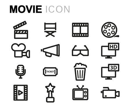 multimedia pictogram: Vector line movie set on white background
