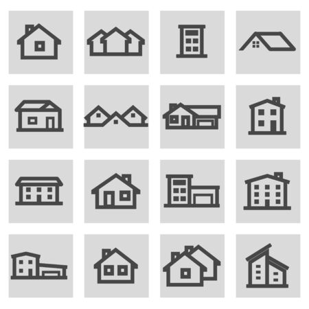 grey house: Vector line house icons set on grey background