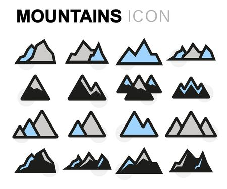 Vector flat mountains icons set on white background